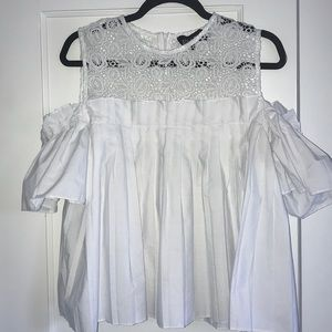 White lace and pleated top